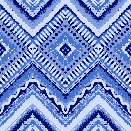 zig zag: Hand drawn painted seamless blue pattern. Vector illustration for tribal design. Ethnic motif. Zigzag and stripe line. For invitation, web, textile, wallpaper, wrapping paper.