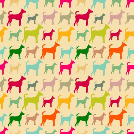 doggies: Animal seamless vector pattern of dog silhouettes.  Illustration