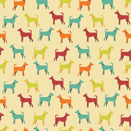 crowd tail: Animal seamless vector pattern of dog silhouettes.  Illustration