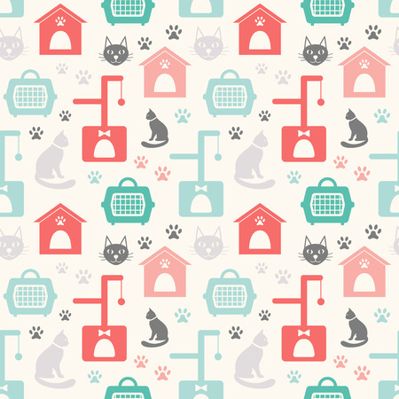 white house: Animal seamless vector pattern of cat silhouettes  Illustration