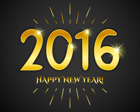 gold numbers: Happy New Year 2016 banner. Vector illustration for holiday elegant design. Simple drawn gold numbers on black background. Sunburst style.