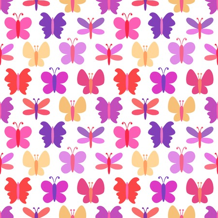 butterfly background: Cute seamless pattern of colorful butterfly silhouettes
