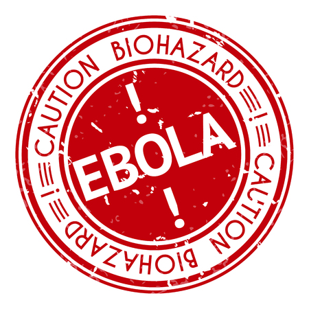 deadly danger sign: Red stamp with Ebola concept text on white background