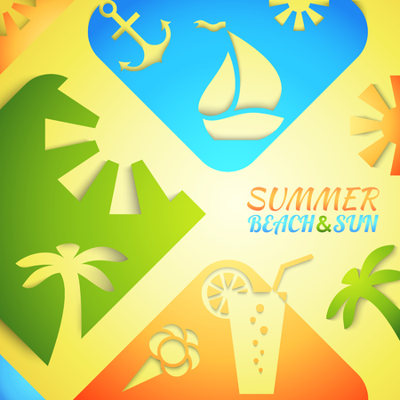 bright sun: Abstract summer illustration. Bright beach and sun concept design. Green, blue, yellow and orange colors Stock Photo