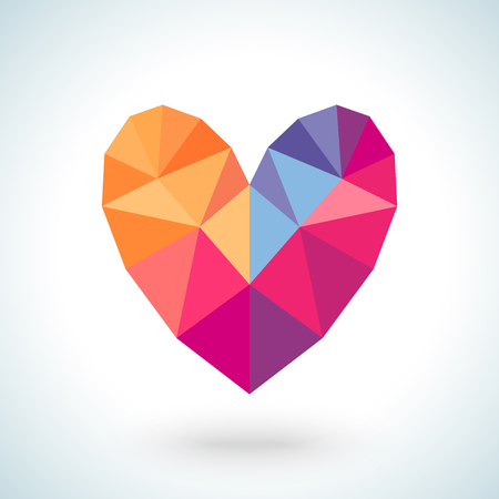 crystal heart: Bright colorful heart shape in modern polygonal crystal style on white background Stock Photo