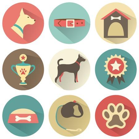 huellas de perro: Iconos retros perro establecen Foto de archivo