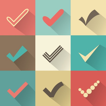 ok: Set of different retro  check marks or ticks Stock Photo
