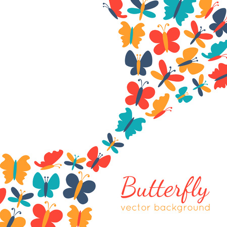 butterfly background: Retro background of colorful butterfly silhouettes