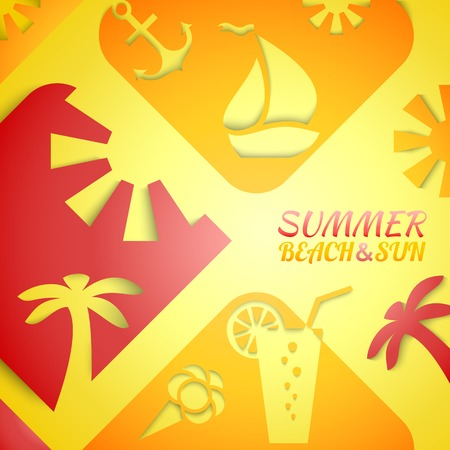 bright sun: Abstract summer illustration. Bright beach and sun concept design