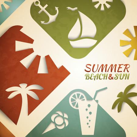 sun beach: Abstract summer illustration. Retro beach and sun concept design
