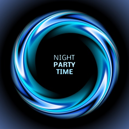 blue circle: Abstract blue swirl circle on black background.  illustration for modern design. Round frame or banner with place for text. Night party time.