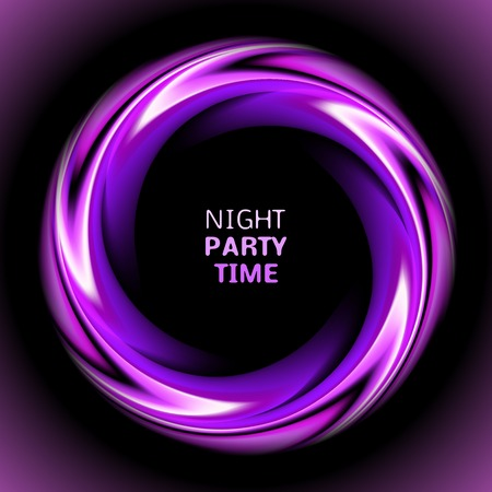 black light: Abstract light purple swirl circle on black background.  illustration for you modern design. Round frame or banner with place for text. Night party time.