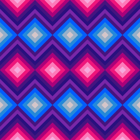 fabric design: Modern crystal zig zag and rhombus seamless pattern. illustration for beauty fashion design. Blue pink colors. Vintage stripe style.