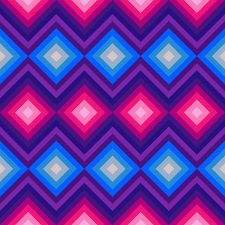 fashion: Moderne Kristall-Zick-Zack und Raute nahtlose Muster. Illustration für Schönheit Mode-Design. Blaue rosa Farben. Vintage Stripe Stil.