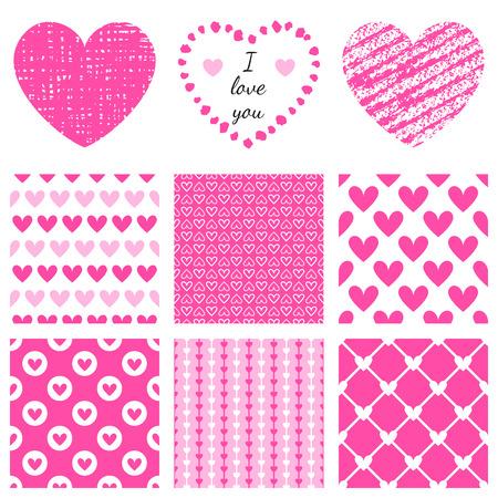 marcos decorativos: Conjunto de texturas forma de corazón dibujado a mano y patrón romántico. Ilustración del vector para el diseño encantador. Estructura y cubierta para el Día de San Valentín. Corazón rosado y fondos de escritorio aislados sobre fondo blanco.