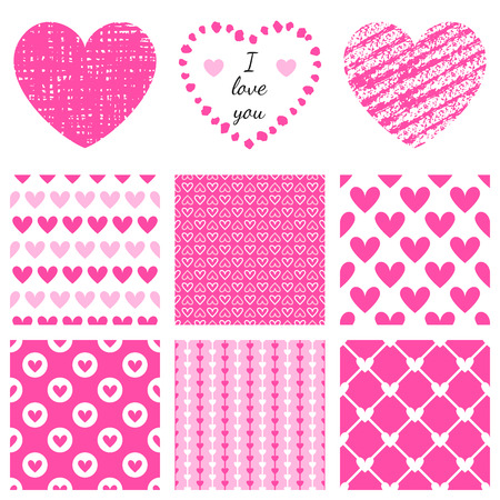 decorative frames: Set of hand-drawn textures heart shapes and romantic pattern.  Vector illustration for lovely design. Frame and cover for Valentines Day. Pink heart and wallpaper isolated on white background.