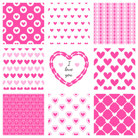 Set of hand-drawn textures heart shapes and romantic pattern.  Vector illustration for lovely design. Frame and cover for Valentines Day. Pink heart and wallpaper isolated on white background.