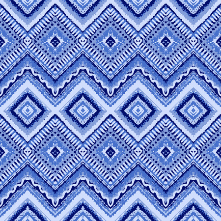 vintage border: Hand drawn painted seamless blue pattern. Vector illustration for tribal design. Ethnic motif. Zigzag and stripe line. For invitation, web, textile, wallpaper, wrapping paper.