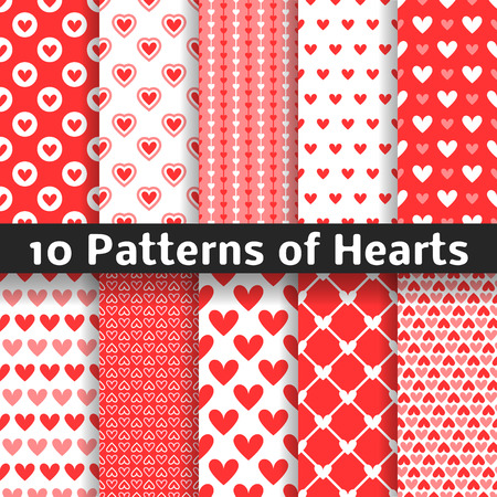 10 Heart shape vector seamless patterns. Red color. Endless texture can be used for printing onto fabric and paper or scrap booking. Valentines day background for invitation.