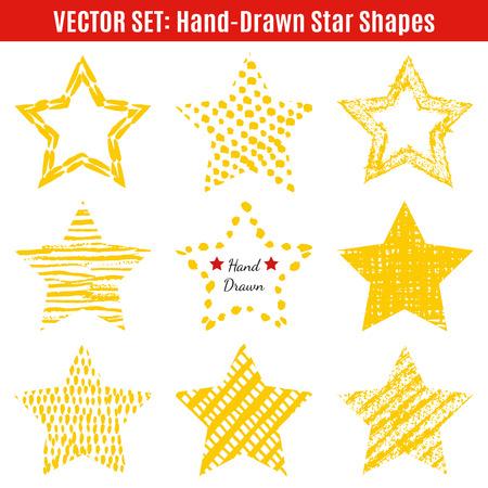 estrella: Conjunto de formas dibujadas a mano texturas estrellas. Ilustración vectorial para diseño fresco estelar. Capítulo para la Insignia. Estrella amarilla aislada en el fondo blanco. Vectores
