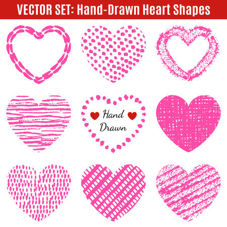 decorative frames: Set of hand-drawn textures heart shapes.  Vector illustration for romantic holiday design. Frame for Valentines Day. Pink heart isolated on white background.
