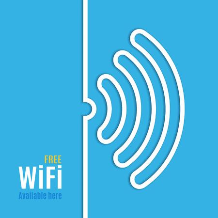 青い背景で WiFi のアイコン。ポッド キャスト デザインのベクトル図です。無料 Wi-fi の利用可能なここ。Wi Fi 記号線紙。インターネット概念。モダ
