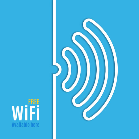 WiFi icon on blue background. Vector illustration for podcast design. Free Wi-Fi available here. Wi Fi symbol line paper. Internet concept. Modern style.