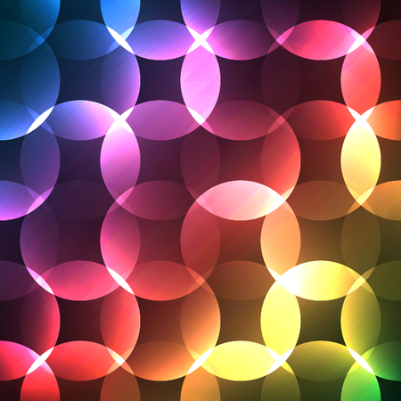 glows: Abstract bright spectrum wallpaper. illustration for modern disco design. Cool pattern background. Rainbow and black colors. Round shapes with lights and glows. Stock Photo