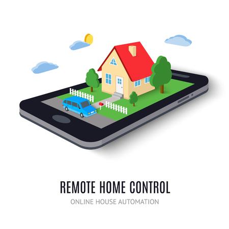 Icono concepto de control remoto en casa. Ilustración del vector. Sistema de tecnología de la casa inteligente en la tableta digital o teléfono. Con edificio, árbol, coche, carretera, las nubes y los elementos de sol. Aislado en el fondo blanco.