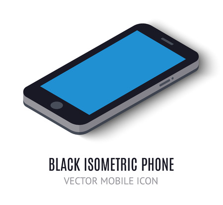 widget: Mobile phone concept isometric icon. Vector illustration for modern business design. digital tablet or telephone. Widget isolated on white background. With blue blank screen for isometric elements. Illustration