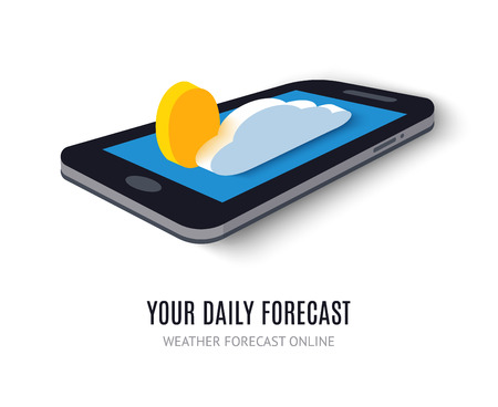 icon phone: Online daily forecast concept isometric icon. Vector illustration. Smart weather technology system on digital tablet or mobile phone. With cloud and sun elements. Widget isolated on white background.