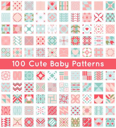 100 かわいい赤ちゃんシームレス パターン。レトロなピンク、白、青の色。壁紙、web ページの背景、布、紙のテクスチャです。非常に抽象的な装飾
