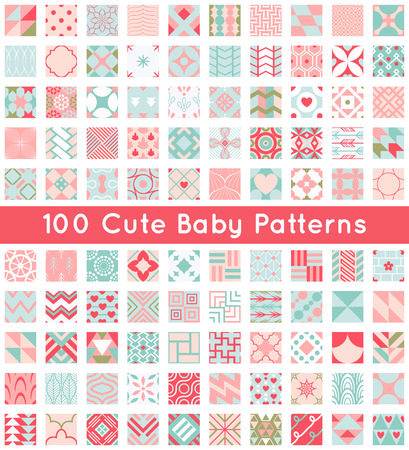 100 Cute baby seamless pattern. Retro pink, white and blue colors. Texture for wallpaper, web page background, fabric and paper. Set of abstract pretty ornament. Heart, flower, line, geometric, shape. Illustration
