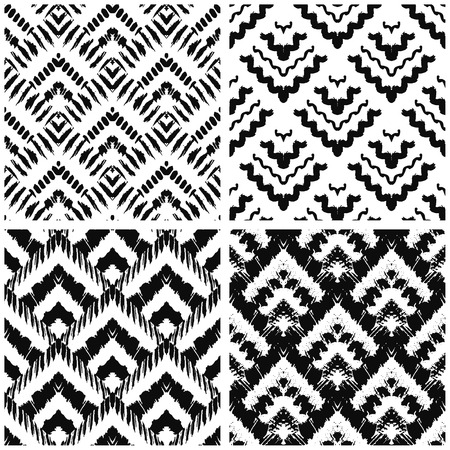 graphic pattern: Hand drawn art deco painted seamless pattern. Vector illustration for tribal design. Ethnic motif. For invitation, web, textile, wallpaper, wrapping paper. Illustration