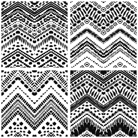 tribal style: Hand drawn art deco painted seamless pattern. Vector illustration for tribal design. Ethnic motif. For invitation, web, textile, wallpaper, wrapping paper. Illustration