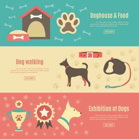 doggy: Retro pet flat horizontal banner set. Vector illustration for animal design. Doggy silhouette.  With dog, house, food, award and walking, leash, collar, exhibition.