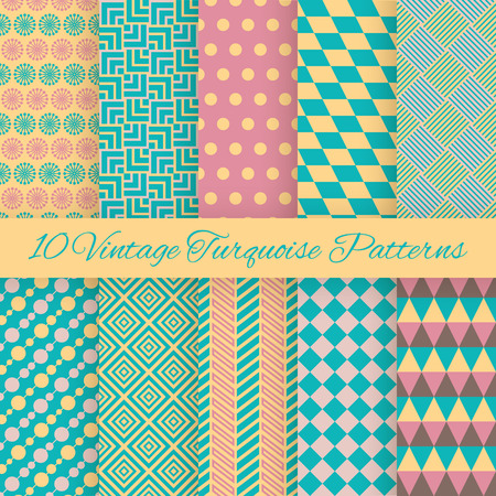 room accent: 10 Vintage turquiose seamless patterns. Vector illustration. Endless texture for wallpaper, fill, web page background, surface texture. Set of shabby geometric ornament. Blue, yellow and pink colors.