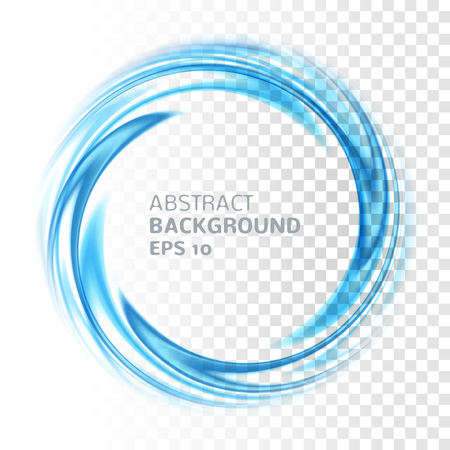 Abstract blue swirl circle on transparent background. Vector illustration for you modern design. Round frame or banner with place for text. Special effects. Translucent elements. Transparency grid.