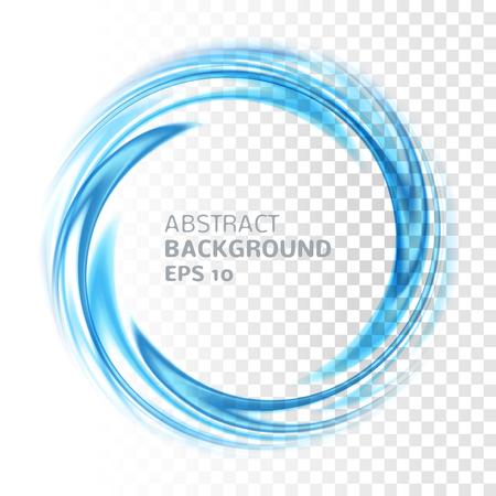 Abstracto del círculo remolino azul en el fondo transparente. Ilustración vectorial para usted diseño moderno. Marco redondo o banner con el lugar para el texto. Efectos especiales. Elementos translúcidos. Rejilla de Transparencia. Ilustración de vector