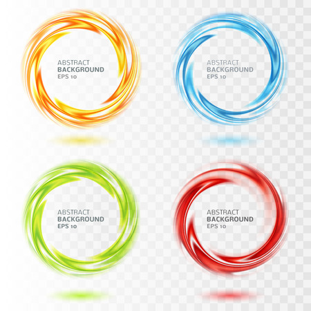 Set of abstract swirl circle on transparent background. Vector illustration for you modern design. Round frame with place. Blue, yellow, orange, red, green colors. Special effect. Translucent elements Vectores