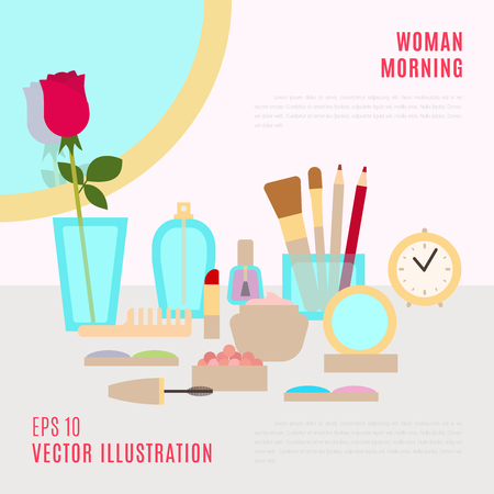 flat brushes: Make up concept vector flat illustration with cosmetics, makeup table, mirror, flower, make-up brushes, perfume, nail polish and clock scattered around. Beauty concept design. Close-up. Retro style.
