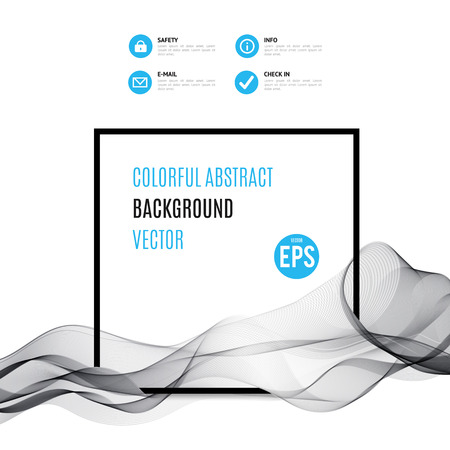 web graphics: Abstract black wave with frame isolated on white background. Vector illustration for modern business design. Futuristic wallpaper. Cool element for presentation, card, flyer and brochure. Blue accent. Illustration