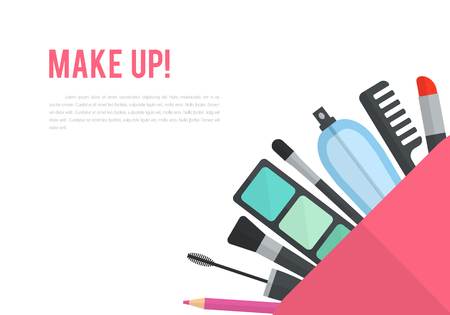 makeup artist: Make up vector flat illustration with lipstick, comb, brush, palette, perfume in women purse. Beauty design isolated on white background. Make-up artist objects. Cosmetic bag. Corner composition.