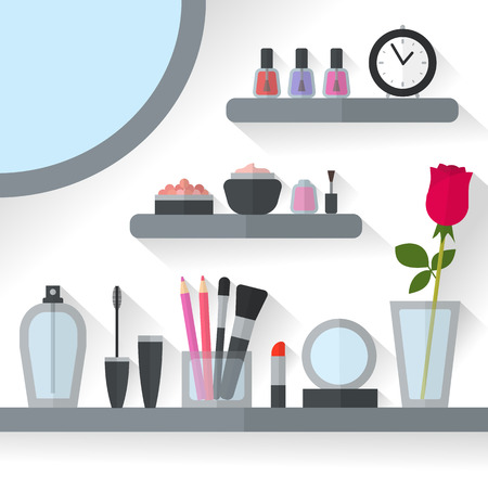 make up products: Home dressing table interior vector illustration. Make up flat concept with cosmetics, makeup table, mirror, flower, make-up tools, rose flower. Make-up artist objects. Accessories for pretty woman.