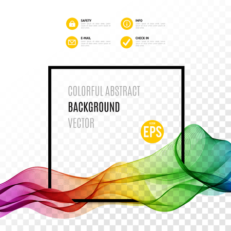 Abstract colourful wave with frame isolated on transparent background. Vector illustration for modern business design. Futuristic wallpaper. Special effects. Translucent elements. Transparency grid. Illustration