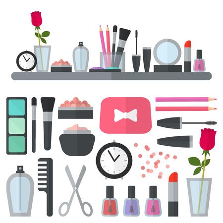 artistas: Invente iconos planos. Ilustración del vector para tienda de cosmética. Estilo de la belleza aislado en el fondo blanco. Maquillaje objetos artista. Accesorios de maquillaje para la mujer bonita. Colores brillantes.