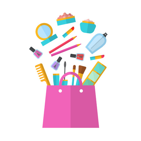 makeup artist: Make up concept vector flat illustration with lipstick, comb, brush, palette, perfume, nail Polish in women purse. Beauty design isolated on white background. Make-up artist objects. Cosmetic bag. Illustration