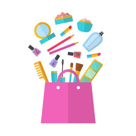 Make up vector concepto plana ilustración con lápiz labial, peine, cepillo, paleta, perfume, esmalte de uñas en las mujeres bolso. Diseño de belleza aislado en el fondo blanco. Maquillaje objetos artista. Bolso de Cosméticos. Foto de archivo - 47422059