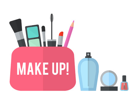 make up products: Make up concept vector flat illustration with lipstick, comb, brush, palette, perfume, nail Polish in womens purse. Beauty design isolated on white background. Make-up artist objects. Cosmetic bag. Illustration