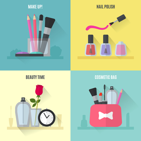 pretty: Make up flat icons. Square composition banners. Vector illustration for cosmetic design. Beauty style isolated on white background. Make-up artist objects. Makeup accessories for pretty woman.